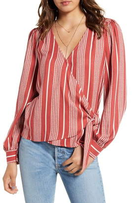 ALL IN FAVOR Print Balloon Sleeve Wrap Front Blouse