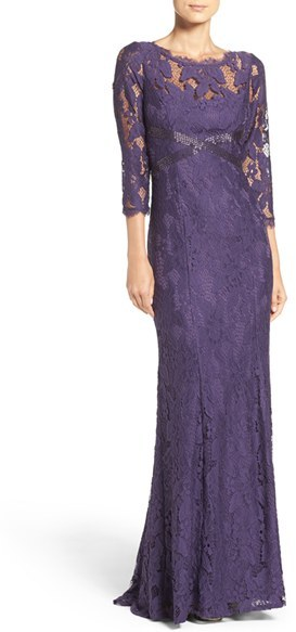 Adrianna Papell Women's Adrianna Papell Illusion Yoke Lace Gown
