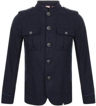 Pretty Green Wool Button Up Jacket Navy