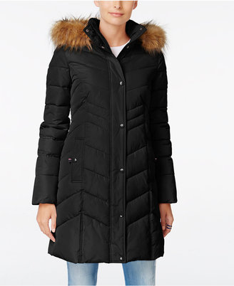 Tommy Hilfiger Faux-Fur-Trim Hooded Quilted Puffer Coat $245 thestylecure.com