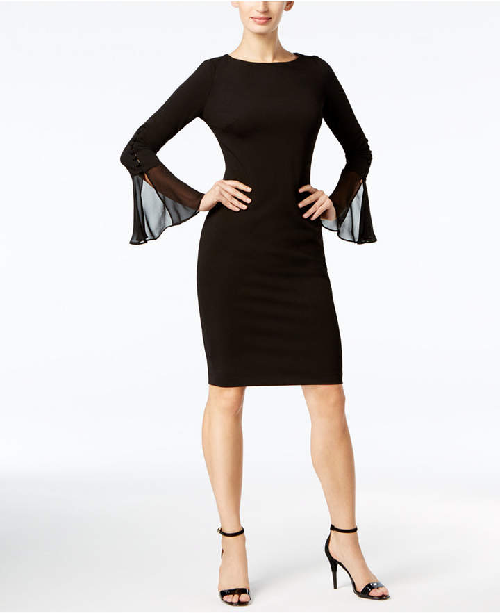 Calvin Klein Button Bell-Sleeve Crepe Dress