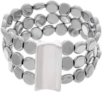 Simon Sebbag Sterling Silver Hematite Disc Triple Strand Bracelet
