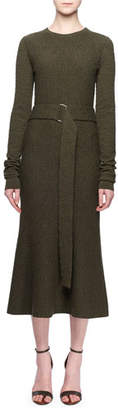 Victoria Beckham Jewel-Neck Long-Sleeve Belted A-Line Wool Midi Dress
