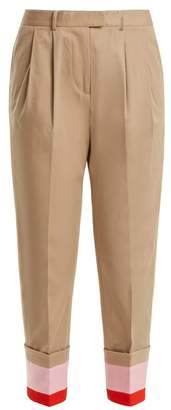 Preen Line Daria Striped Cuff Stretch Cotton Cropped Trousers - Womens - Beige Multi