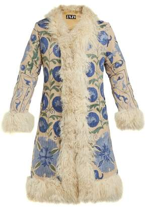 ZAZI Vintage Suzani Embroidered Shearling Coat - Womens - Blue White