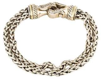 David Yurman Diamond Double Wheat Buckle Bracelet