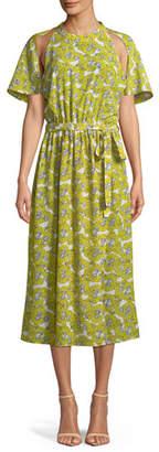 Robert Rodriguez Dania Floral-Print Cutout Belted Midi Dress