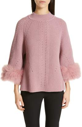 Fendi Genuine Fox Fur Cuff Cashmere Sweater