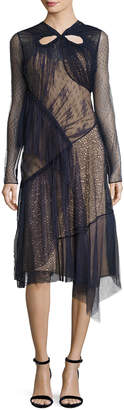 Jason Wu Long-Sleeve Mixed-Lace Dress, Blue