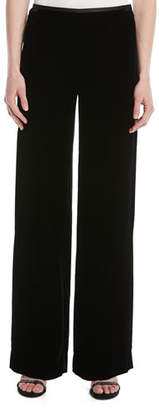 Emporio Armani Wide-Leg Side-Zip Velvet Pants