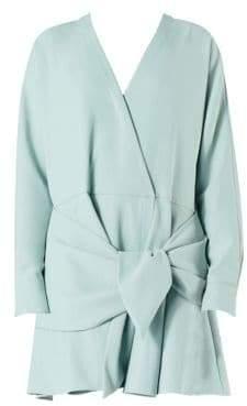Tibi Women's Chalky Drape Front Tie Dress - Ash Green - Size 00