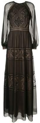 Tadashi Shoji embroidered detail longsleeved dress