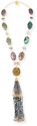 Devon Leigh Beaded Tassel & Opalescent Necklace