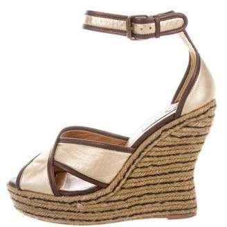 Lanvin Metallic Wedge Sandals