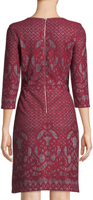 Gabby Skye 3/4-Sleeve Bonded-Lace A-Line Dress