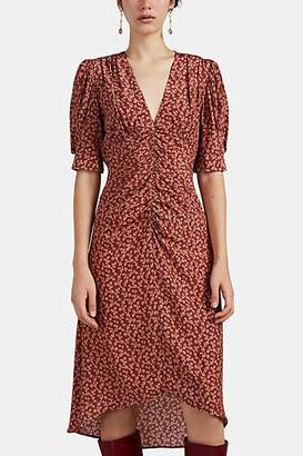Masscob Women's Dafne Ruched Floral Silk Dress - Red