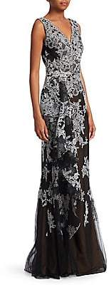 David Meister Women's Sleeveless Floral Gown