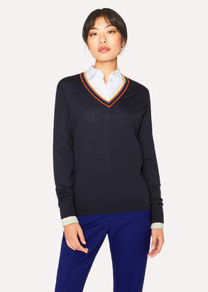 Paul Smith Women's Dark Navy 'Artist Stripe' V-Neck Wool Sweater