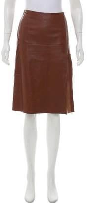 Victor Alfaro Pleated Leather Skirt