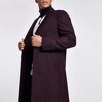 River Island Burgundy wool blend overcoat