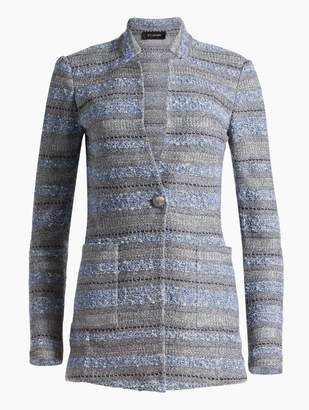 St. John Heathered Stripe Boucle Tweed Knit Jacket