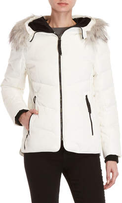 DKNY Faux Fur-Trimmed Down Coat