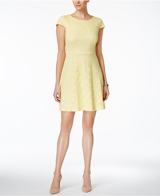 Connected Cap-Sleeve Lace Fit & Flare Dress $79 thestylecure.com