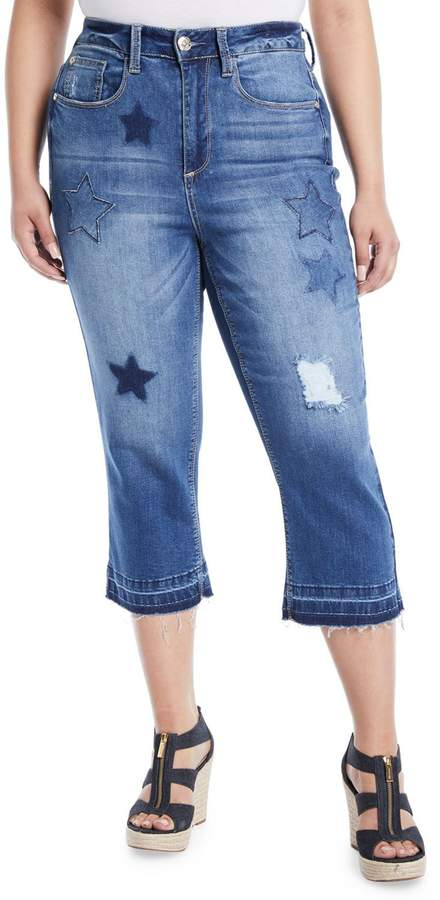 Seven7 Jeans Star-Patch Straight-Leg Jeans, Plus Size