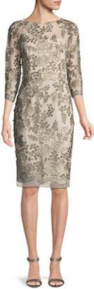 David Meister Embellished Floral Three-Quarter Sleeve Dress