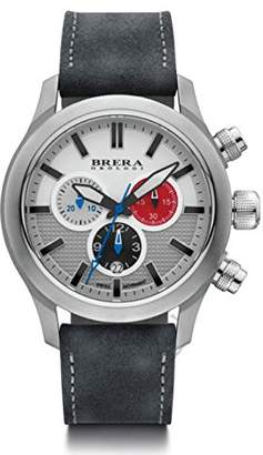 Brera Orologi Men's Eterno Chrono Stainless Steel White Red & Blue Gray Suede Strap 43mm