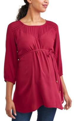 Oh! Mamma Maternity Pleated Tie Front Tunic - Available in Plus Sizes