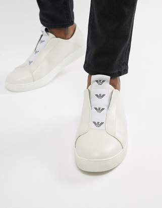 Emporio Armani Logo Slip-On Sneakers In White