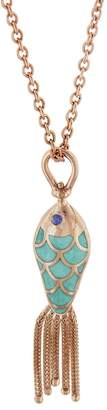 Selim Mouzannar Small Blue and Green Enamel Sapphire Fish Necklace - Rose Gold