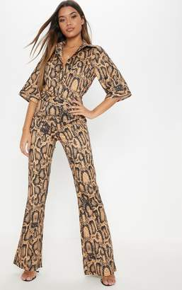 PrettyLittleThing Orange Snake Print Wide Leg Trouser