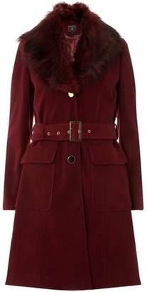 Dorothy Perkins Womens Berry Faux Fur Collar Coat