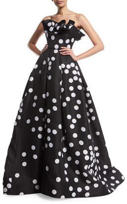 Monique Lhuillier Abstract Polka-Dot Strapless Silk Gazar Ball Gown w/ Ruffle Neckline