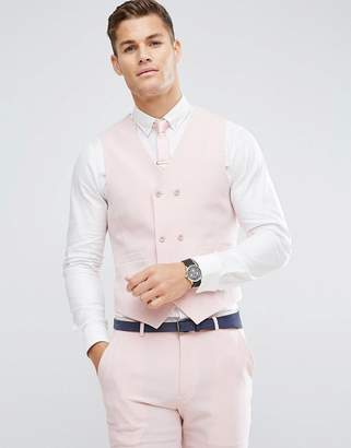 Hatch ASOS DESIGN ASOS Wedding Skinny Suit Vest in Pink Cross with Printed Lining