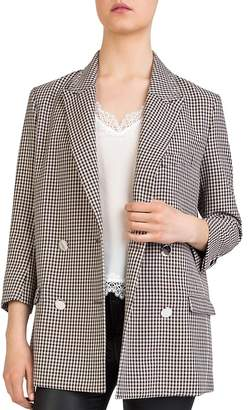 The Kooples Checked Double-Breasted Blazer