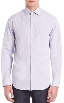 Armani Collezioni Modern-Fit Checked Cotton Dress Shirt