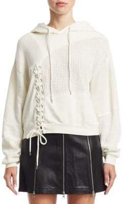 McQ Lace-Up Patch Hoodie