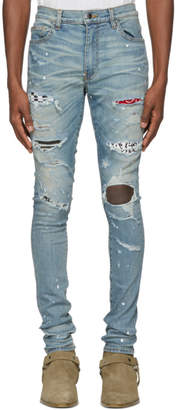 Amiri Indigo Art Patch Painted Jeans