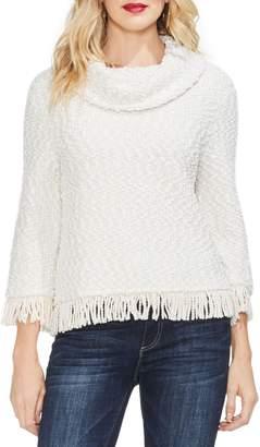 Vince Camuto Fringe Detail Cotton Blend Chenille Sweater