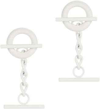 Monse White Circle Bar Earrings