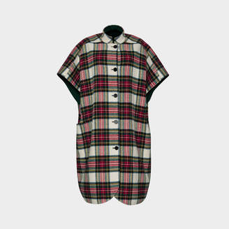 Burberry Reversible Tartan Oversized Poncho Scarf in Natural White and Bottle Green Wool