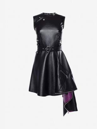 Alexander McQueen Leather Peplum Mini Dress