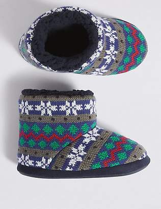 Marks and Spencer Kids' Fairisle Slippers (5 Small - 7 Large)