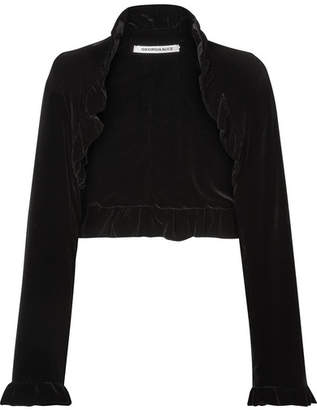 Georgia Alice Cropped Ruffled Velvet Jacket - Black