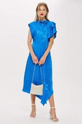 Topshop Womens Petite Cowl Jacquard Midi Dress