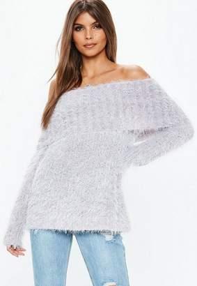 Missguided Lilac Glitter Fluffy Bardot Knit Sweater
