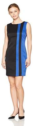 Ellen Tracy Women's Petite Ponte Color Block Dress